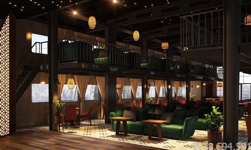 bản thiết kế 3D âm thanh phòng trà hát cafe với nhau trên sông